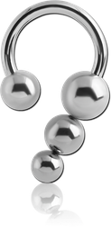 SURGICAL STEEL GRADE 316L CIRCULAR BARBELL WITH BALL AND PYRAMID