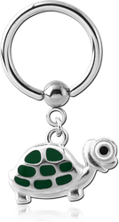 SURGICAL STEEL GRADE 316L BALL CLOSURE RING WITH CHARM - TURTLE