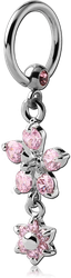 SURGICAL STEEL GRADE 316L JEWELED BALL CLOSURE RING WITH JEWELED FLOWERS CHARM