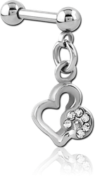 SURGICAL STEEL GRADE 316L MICRO BARBELL WITH DANGLING CHARM
