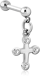 SURGICAL STEEL GRADE 316L MICRO BARBELL WITH DANGLING CHARM - CROSS