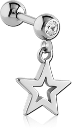 SURGICAL STEEL GRADE 316L JEWELED MICRO BARBELL WITH STAR CHARM