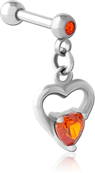 SURGICAL STEEL GRADE 316L MICRO BARBELL WITH DANGLING CHARM - HEART