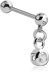 SURGICAL STEEL GRADE 316L JEWELED MICRO BARBELL WITH CHARM
