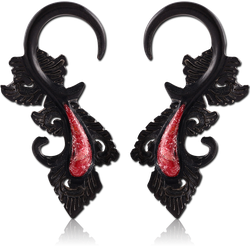 IRON ORGANIC WOOD CORAL INLAID CLAW EARRINGS PAIR