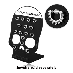 BLACK POLYMER DISPLAY WITH 15 PLASTIC CLIPS FOR SEPTUM CLICKERS - SKULL