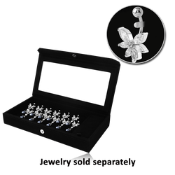 DISPLAY - VELVET PAD MIRRORED BOX WITH 12 CLIPS & LOOSE PART COMPARTMENT