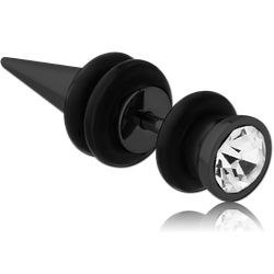BLACK PVD COATED SURGICAL STEEL GRADE 316L JEWELED FAKE EXPANDER