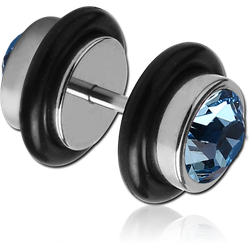 SURGICAL STEEL GRADE 316L DOUBLE JEWELED FAKE PLUG