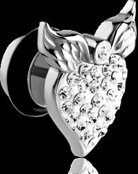 SURGICAL STEEL GRADE 316L CRYSTALINE JEWELED WINGED HEART FAKE PLUG