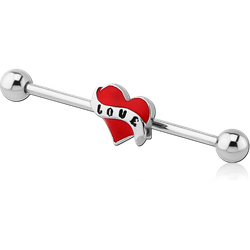 SURGICAL STEEL GRADE 316L LOVE INDUSTRIAL BARBELL