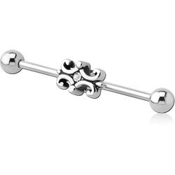 SURGICAL STEEL GRADE 316L INDUSTRIAL BARBELL WITH ADJUSTABLE SLIDING CHARM