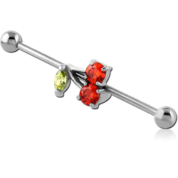 SURGICAL STEEL GRADE 316L INDUSTRIAL BARBELL  -  CHERRY