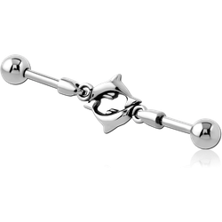 SURGICAL STEEL GRADE 316L INDUSTRIAL BARBELL CHARM - DOLPHIN