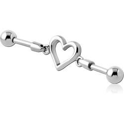 SURGICAL STEEL GRADE 316L INDUSTRIAL BARBELL CHARM - HEART