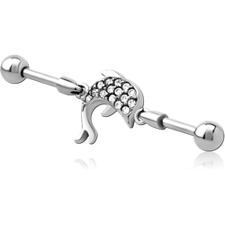 SURGICAL STEEL GRADE 316L INDUSTRIAL BARBELL JEWELED CHARM - DOLPHIN