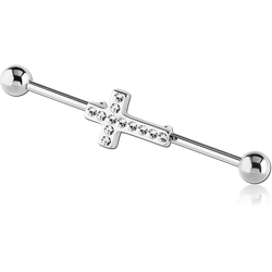 SURGICAL STEEL GRADE 316L INDUSTRIAL BARBELL WITH JEWELED LEAF