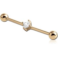 ZIRCON GOLD PVD COATED SURGICAL STEEL GRADE 316L SQUARE JEWELED INDUSTRIAL BARBELL