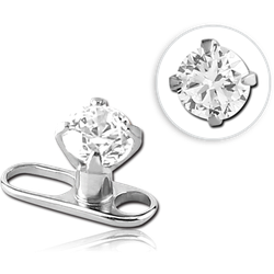 TITANIUM ALLOY INTERNALLY THREADED DERMAL ANCHOR BIG HOLE WITH PRONG SET ROUND JEWELED ATTACHMENT