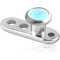 TITANIUM ALLOY INTERNALLY THREADED DERMAL ANCHOR WITH ORGANIC SYNTHETIC OPAL JEWELED DISC