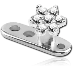TITANIUM ALLOY INTERNALLY THREADED DERMAL ANCHOR WITH SURGICAL STEEL GRADE 316L JEWELED FLOWER ATTACHMENT