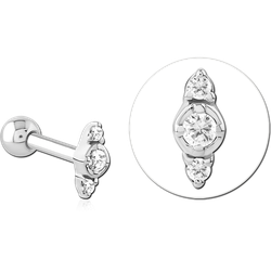 TITANIUM ALLOY INTERNALLY THREADED MIRCO BARBELL WITH JEWELED MICRO ATTACHMENT- TRIPLE
