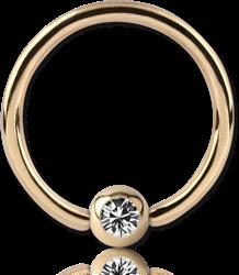 18 KARAT GOLD YELLOW HIGH END CRYSTAL JEWELED BALL CLOSURE RING