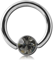 SURGICAL STEEL GRADE 316L VALUE JEWELED DISC BALL CLOSURE RING