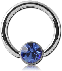 SURGICAL STEEL GRADE 316L OPTIMA CRYSTAL JEWELED DISC BALL CLOSURE RING