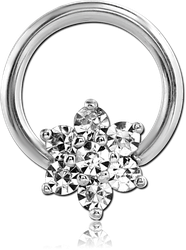 SURGICAL STEEL GRADE 316L ROUND PRONG SET JEWELED BALL CLOSURE RING
