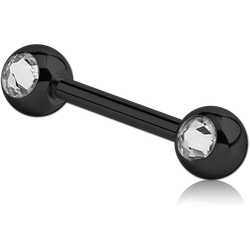 BLACK PVD COATED SURGICAL STEEL GRADE 316L SIDE MOUNTED DOUBLE SWAROVSKI CRYSTALS JEWELED BARBELL