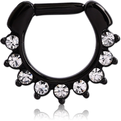 BLACK PVD COATED SURGICAL STEEL GRADE 316L ROUND VALUE JEWELED HINGED SEPTUM CLICKER