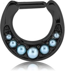 BLACK PVD COATED SURGICAL STEEL GRADE 316L ROUND JEWELED HINGED SEPTUM CLICKER WITH ORGANIC SYNTHETIC TURQUOISE