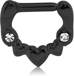 BLACK PVD COATED SURGICAL STEEL GRADE 316L JEWELED HINGED SEPTUM CLICKER