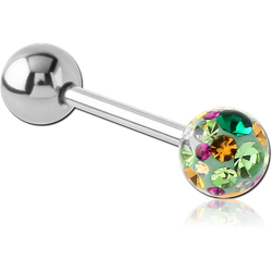 SURGICAL STEEL GRADE 316L BARBELL WITH ONE EPOXY COATED CRYSTALINE JEWELED BALL