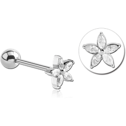 SURGICAL STEEL GRADE 316L JEWELED PRONG SET BARBELL