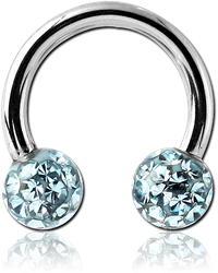SURGICAL STEEL GRADE 316L CIRCULAR BARBELL WITH EPOXY COATED CRYSTALINE JEWELED BALLS