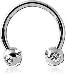 SURGICAL STEEL GRADE 316L CIRCULAR BARBELL WITH MULTI JEWELED BALLS