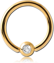 GOLD PVD COATED SURGICAL STEEL GRADE 316L JEWELED BALL CLOSURE RING WITH OPTIMA CRYSTAL