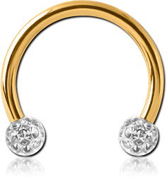 GOLD PVD COATED SURGICAL STEEL GRADE 316L MICRO CIRCULAR BARBELL WITH EPOXY COATED CRYSTALINE JEWELED BALLS