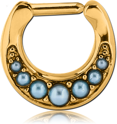 GOLD PVD COATED SURGICAL STEEL GRADE 316L ROUND JEWELED HINGED SEPTUM CLICKER WITH ORGANIC SYNTHETIC TURQUOISE