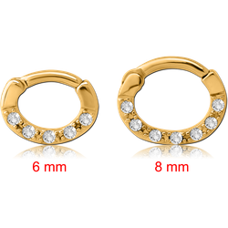 GOLD PVD COATED SURGICAL STEEL GRADE 316L ROUND JEWELED HINGED SEPTUM CLICKER