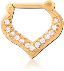 STERLING 925 SILVER GOLD PLATED JEWELED HINGED SEPTUM CLICKER
