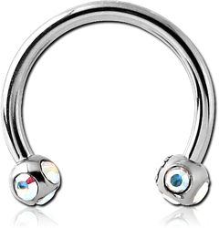 SURGICAL STEEL GRADE 316L MICRO CIRCULAR BARBELL WITH MULTI JEWELED BALLS
