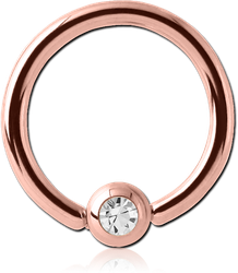 ROSE GOLD PVD COATED SURGICAL STEEL GRADE 316L JEWELED BALL CLOSURE RING WITH OPTIMA CRYSTAL