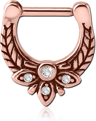ROSE GOLD PVD COATED SURGICAL STEEL GRADE 316L JEWELED HINGED SEPTUM CLICKER - FILIGREE