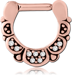 ROSE GOLD PVD COATED SURGICAL STEEL GRADE 316L HINGED SEPTUM CLICKER - FILIGREE