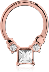 ROSE GOLD PVD COATED SURGICAL STEEL GRADE 316L SWAROVSKI CRYSTAL JEWELED HINGED SEPTUM CLICKER