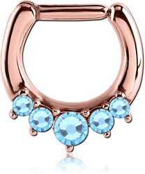 ROSE GOLD PVD COATED SURGICAL STEEL GRADE 316L ROUND SWAROVSKI CRYSTALS JEWELED HINGED SEPTUM CLICKER