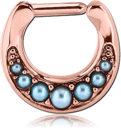 ROSE GOLD PVD COATED SURGICAL STEEL GRADE 316L ROUND JEWELED HINGED SEPTUM CLICKER WITH ORGANIC SYNTHETIC TURQUOISE